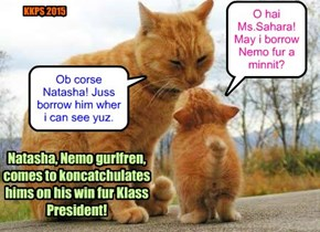 Natasha comes to gibs Nemo kongarats fur winning da Klass President elections at KKPS!