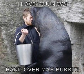I HAVE YOU NOW!  HAND OVER MAH BUKKIT!