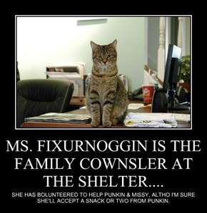 MS. FIXURNOGGIN IS THE FAMILY COWNSLER AT THE SHELTER....