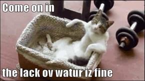 Come on in   the lack ov watur iz fine