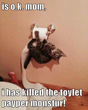 is o.k. mom,  i has killed the toylet payper monstur!