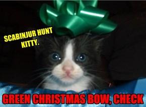 GREEN CHRISTMAS BOW, CHECK