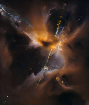 The Hubble Space Telescope Captured Energy Beams Coming From a New Star Light a Lightsaber