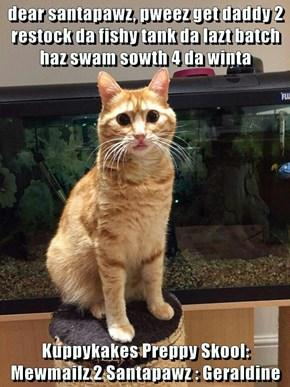 dear santapawz, pweez get daddy 2 restock da fishy tank da lazt batch haz swam sowth 4 da winta  Kuppykakes Preppy Skool: Mewmailz 2 Santapawz : Geraldine