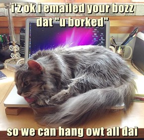 """i'z ok i emailed your bozz dat """"u borked""""   so we can hang owt all dai"""
