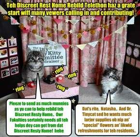 KKPS 2015: Skolars Natasha and Kandi habs bolunteered to answer fones for teh Discreet Rest Home Rebild Telethons..