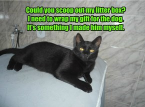 Could you scoop out my litter box? I need to wrap my gift for the dog. It's something I made him myself.