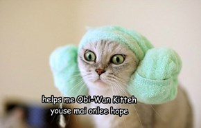 Natasha makes excullent use of da props on paw to delivurs thrills wif a re-enaktment of Star Wars