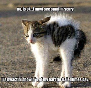 no, is ok...i nawt see sumfin' scary              i is pwactin' showin' owf my hart for balentimes day.