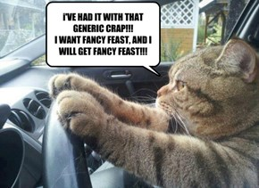 i'VE HAD IT WITH THAT GENERIC CRAP!!! I WANT FANCY FEAST, AND I WILL GET FANCY FEAST!!!