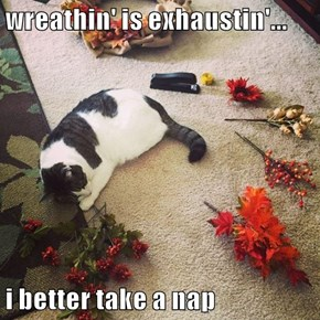 wreathin' is exhaustin'...  i better take a nap