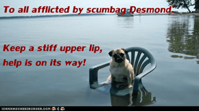 To all afflicted by scumbag Desmond: Keep a stiff upper lip,                                                     help is on its way!