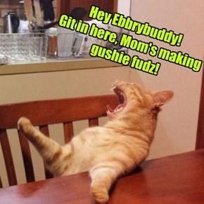 Hey Ebbrybuddy! Git in here, Mom's making gushie fudz!