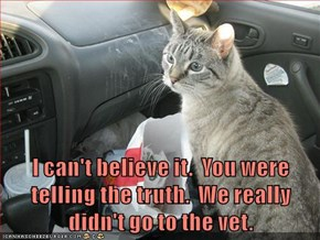 I can't believe it.  You were telling the truth.  We really didn't go to the vet.