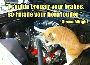"""""""I couldn't repair your brakes, so I made your horn louder."""" - Steven Wright"""