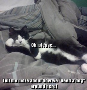 """Oh, please.... Tell me more about how we """"need a dog"""" around here!"""