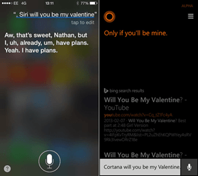 The Difference Between Siri and Cortana When It Comes to Valentine's Day