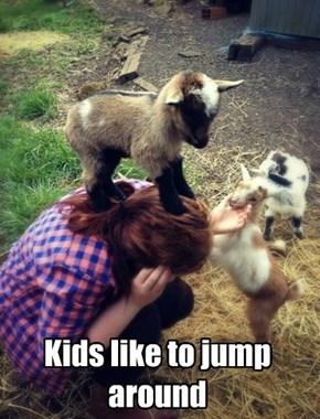 Kids like to jump around