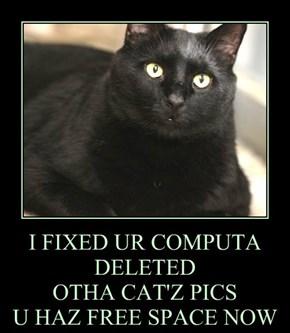 I FIXED UR COMPUTA DELETED  OTHA CAT'Z PICS U HAZ FREE SPACE NOW