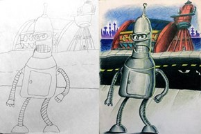 This Dad Adds a Colorful Layer to His Kids' Drawings, and He'll Do the Same For Yours!