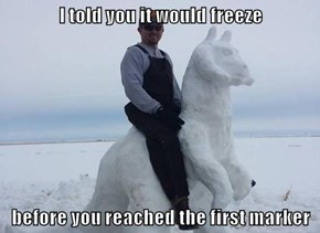 I told you it would freeze  before you reached the first marker