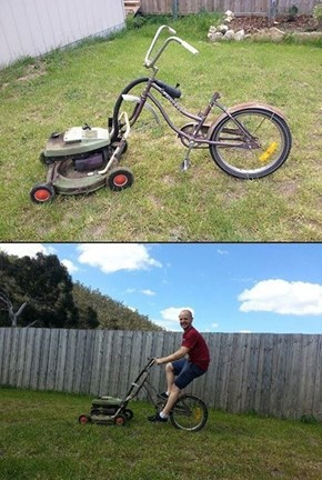 A Genius Way to Mow the Lawn