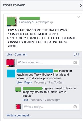 Complaining to Corporate on Facebook, Not the Best Idea