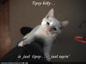Tipsy kitty . .   is  just  tipsy . .     just sayin'
