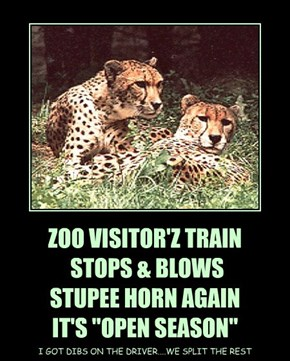 "ZOO VISITOR'Z TRAIN  STOPS & BLOWS  STUPEE HORN AGAIN IT'S ""OPEN SEASON"""