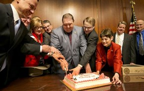 Texas Legislators Cutting a Cake Celebrating 10 Years of Same-Sex Marriage Being Illegal in Their State