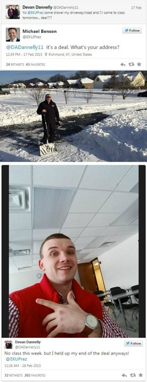 This Student Said He'd Go to Class if His Principal Shoveled His Driveway. He Rose to the Challenge!