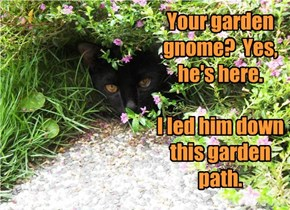 Your garden gnome?  Yes, he's here.    I led him down this garden path.