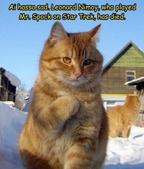 Ai hassa sad. Leonard Nimoy, who played Mr. Spock on Star Trek, has died.