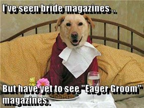 """I've seen bride magazines ..  But have yet to see """"Eager Groom"""" magazines."""