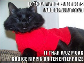 LOTZ OV MAH CO-WERKERS                                WUD BE ALIV TODAI  IF THAR WUZ MOAR                                           BODICE RIPPIN ON TEH ENTERPRIZE