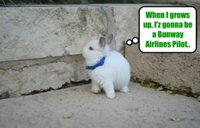 Dis yung Skolar haz alreddy made up hiz minds as to what he wants to be when he iz a big bunny..