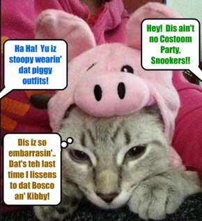 Eberyone laffed when Snookers showed up at teh KKPS Balantine's Danse dressed up as a Pig! Snookers wer fooled an' had a practical jokes played on him by too ovver Skolars!