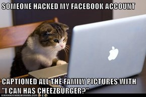 "SOMEONE HACKED MY FACEBOOK ACCOUNT  CAPTIONED ALL THE FAMILY PICTURES WITH                             ""I CAN HAS CHEEZBURGER?"""