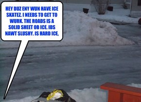 HEY DUZ ENY WUN HAVE ICE SKATEZ. I NEEDS TO GET TO WURK. THE ROADS IS A SOLID SHEET OB ICE. IDS NAWT SLUSHY. IS HARD ICE,