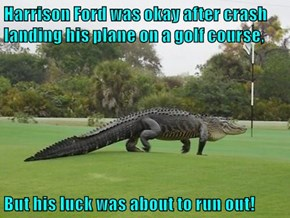 Harrison Ford was okay after crash landing his plane on a golf course,  But his luck was about to run out!