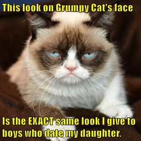 This look on Grumpy Cat's face  Is the EXACT same look I give to boys who date my daughter.