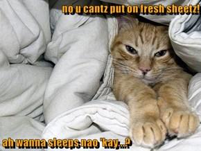 no u cantz put on fresh sheetz!  ah wanna sleeps nao 'kay...?