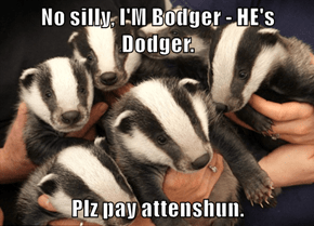 No silly, I'M Bodger - HE's Dodger.  Plz pay attenshun.