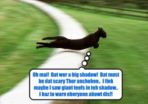 Near Swamp Lake, Skolar Spencer saw a fleeting shadow dat he thawt mite be dat giant Anchobee eberyone at Kuppykakes iz talkin' abowt.. an' Spencer bravely rushes to tell eberyone what he saw!