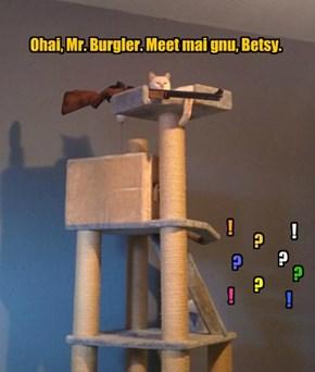 Ohai, Mr. Burgler. Meet mai gnu, Betsy.