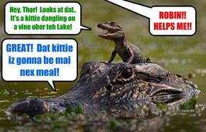 KKPS Great Anchobie Hunt: Thor teh Alligator (who ids often mistaken for a Giant Anchobee) spots dat sweet Skolar Millie Tabishsmythe hanging helplessly at teh end ob a slippery vine over Swamp Lake!