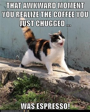THAT AWKWARD MOMENT YOU REALIZE THE COFFEE YOU JUST CHUGGED ...  WAS ESPRESSO!