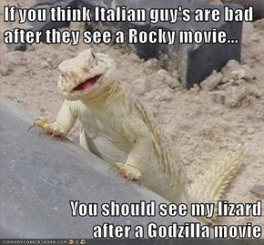 If you think Italian guy's are bad after they see a Rocky movie...  You should see my lizard                   after a Godzilla movie