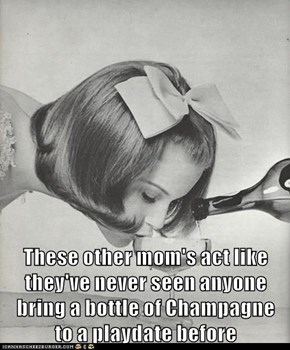 These other mom's act like they've never seen anyone bring a bottle of Champagne                                    to a playdate before