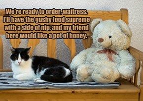 We're ready to order, waitress. I'll have the gushy food supreme with a side of nip, and my friend here would like a pot of honey.